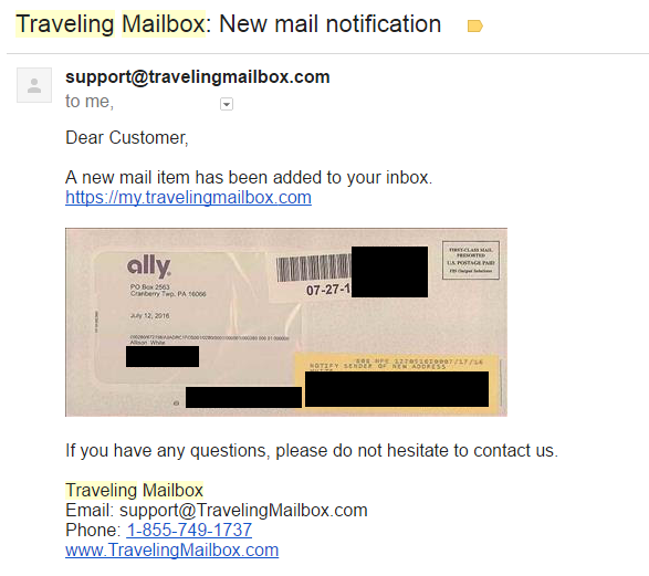 Email about Real mail