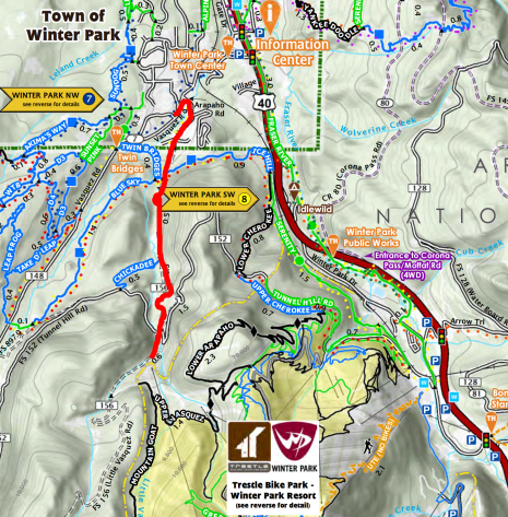 The map of all of the mountain bike trails in the area even showed the road: http://www.playwinterpark.com/sites/default/master/files/userfiles/UserFiles/chambers/MTBCapitalUSA_TrailMap2016_Web.pdf
